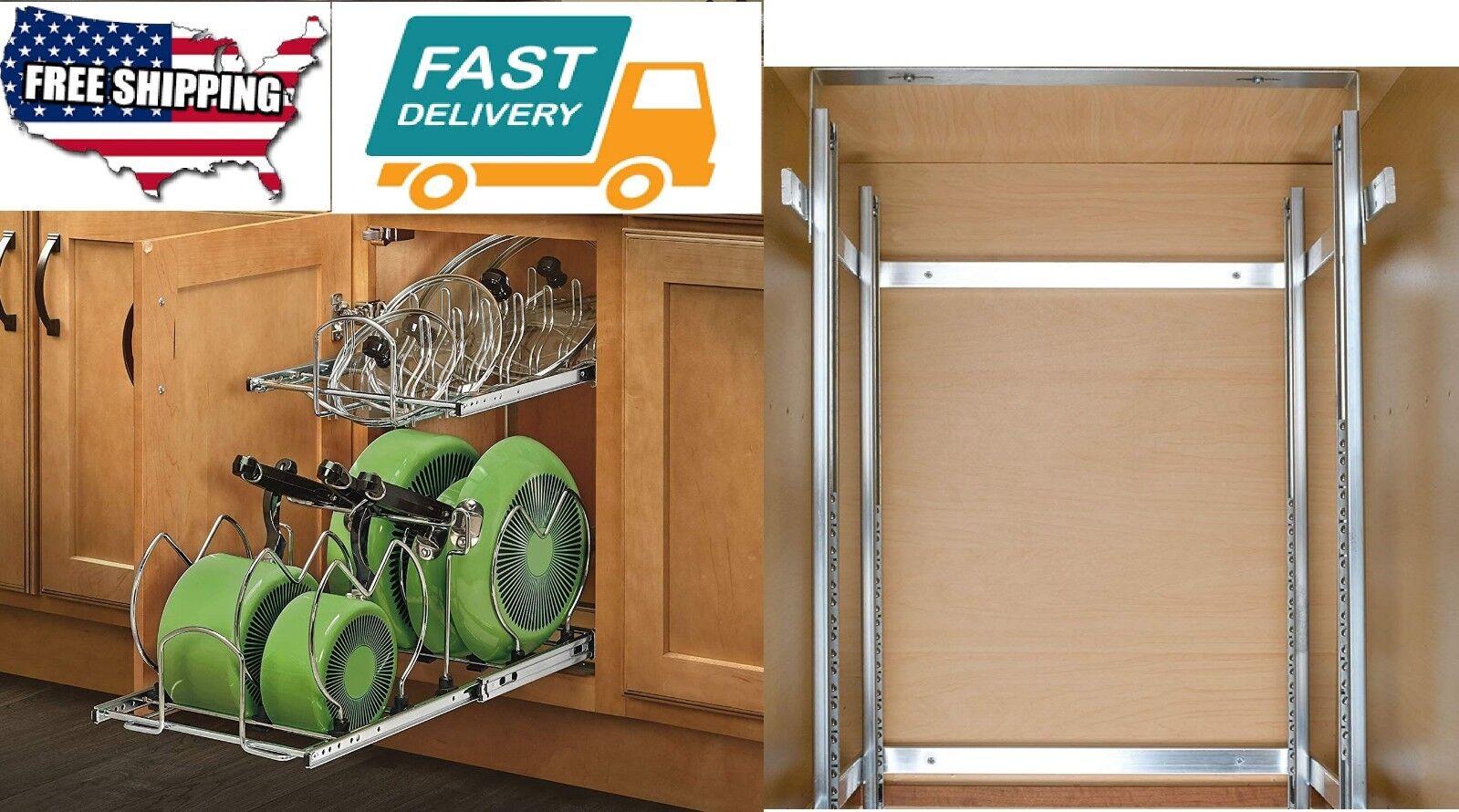 Cocina de casa Pull-out base de 2 niveles del Gabinete Cajón de Almacenamiento Organizador de utensilios de cocina se adapta
