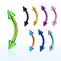 """16G~5/16"""", 3/8"""" Titanium Anodized 316L Curved Eyebrow Barbell with 3mm Spikes"""