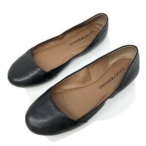 Lucky Brand Women's Size 6 Black Textured leather Black Flats