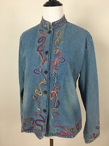 Chico S Denim Jean Jacket Size 0 Boho Women S Small Embroidered