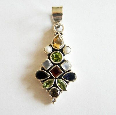 Sterling Silver Genuine Gemstone Vintage Pendant 925
