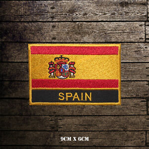 Spain-National-Flag-With-Name-Embroidered-Iron-On-Sew-On-Patch-Badge