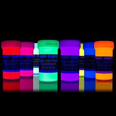 Fluorescent Glow Paint UV Invisible Black Light Ultraviolet Paint Neon Set of 8