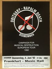 NAPALM DEATH – OBITUARY 1992 FRANKFURT   -  orig.Konzert-Poster-Plakat DIN A1