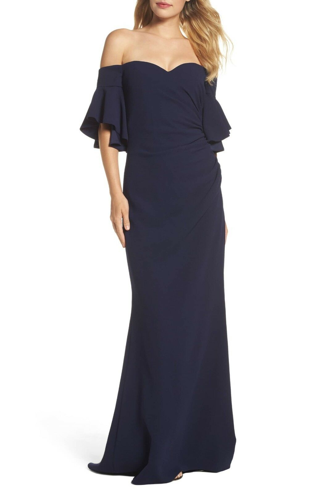 BADGLEY MISCHKA Navy bluee Pebble Crepe Off Shoulder Sweetheart Mermaid Gown 8 M