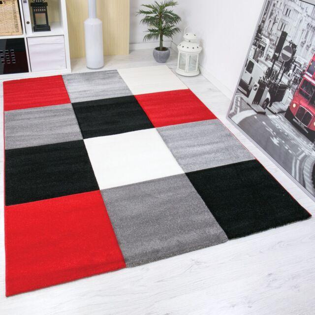 Modern Living Room Rug Checked Contour Cutting Red Black White 80 Cm Rh Ebay Co Uk