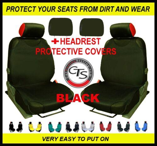 HEADREST BLACK VW Transporter T5 T4 2x CAR SEAT COVER T-SHIRT VEST FRONT