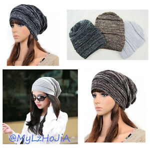 517933d942a Mens Womens Unisex Knit Baggy Beanie Beret Hat Winter Warm Oversized ...