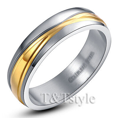 TT Two-Tone Gold Stainless Steel Wedding Band Ring Men & Women Size 5-14(R38)