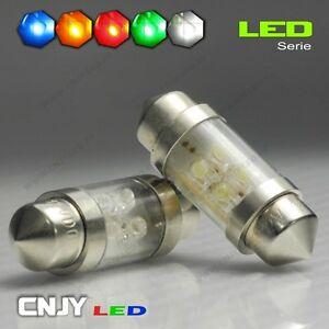 2-AMPOULE-4-LED-RONDE-C5W-SV8-5-31MM-32MM-XENON-12V-BLANC-BLEU-ORANGE-ROUGE-VERT