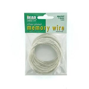 "BEADSMITH SILVER PLATED MEMORY WIRE 1-3//4/"" 44mm BRACELET JEWELLERY WIRE 1oz."