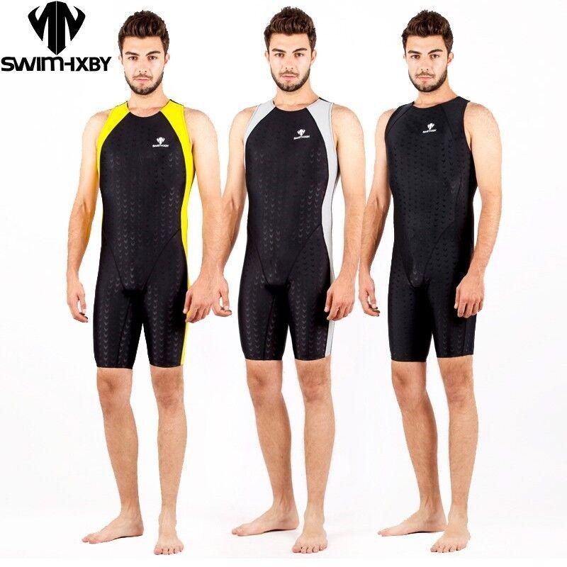 Men Boys One Piece Competition Racing Swimwsuit Swimwear Sharkskin Training Suit