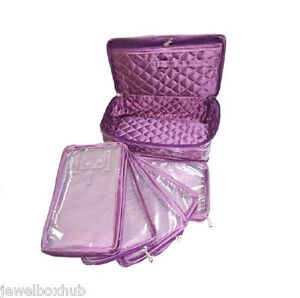 1 Necklace Earring Half Set 5 Pouch Travel Case Storage bag Jewelry box - purple