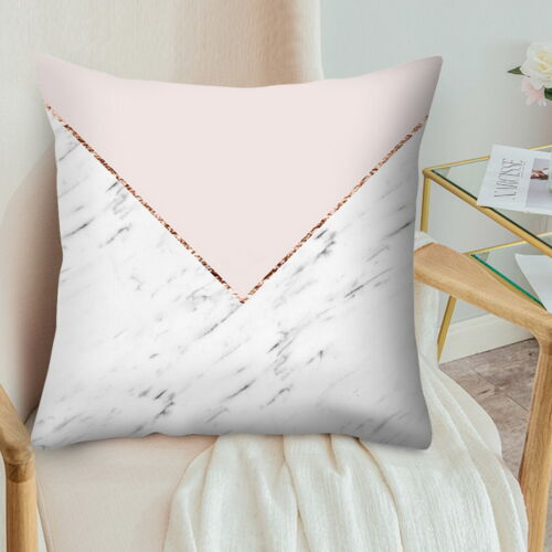 Or Rose Housse De Coussin Rose /& Gris Geometric marbre Taie d/'oreiller canapé chambre décors