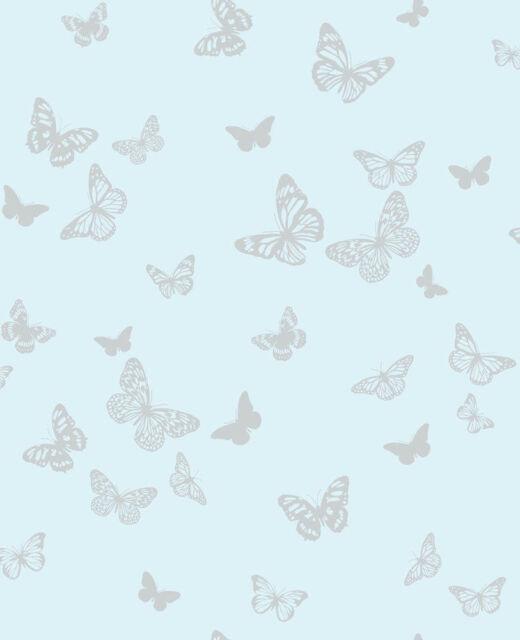 BLUE SILVER SPARKLE BUTTERFLIES BUTTERFLY QUALITY FINE DECOR WALLPAPER DL40566