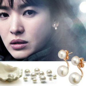 Fashion-New-Womens-Stud-Earrings-Golden-White-Freshwater-Pearl