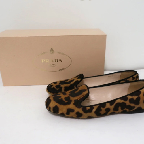 Prada Leopard Print Calf Hair Smoking Slippers Siz