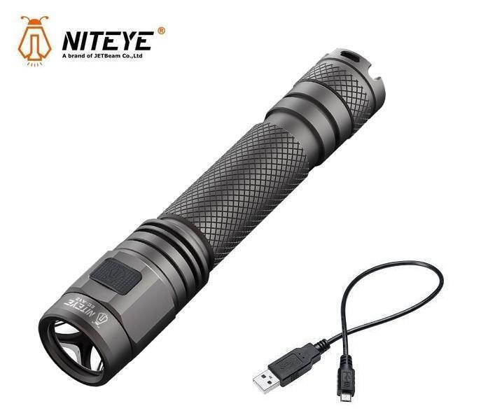 New Jetbeam Niteye ECA12 Cree XPL 380 Lumens USB Charge LED Flashlight AA 2A