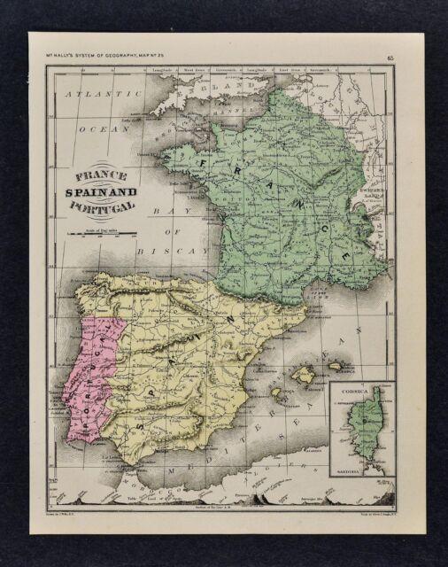 1871 J Wells Map France Spain Portugal Madrid Lisbon Paris Toledo