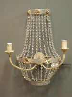 A Pair Of Vintage French Empire Style Droplet Aged Chandelier Wall Lights.