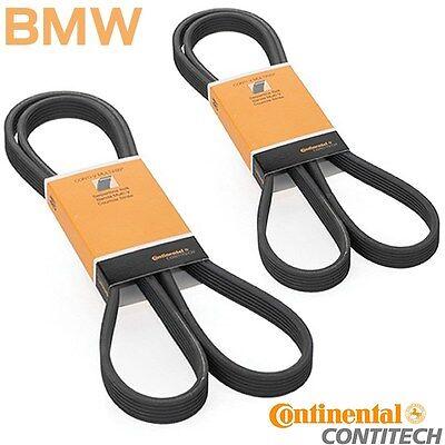 2 BMW Serpentine Drive Belt Set  AC Air Conditioning Alternator Steering W Pump