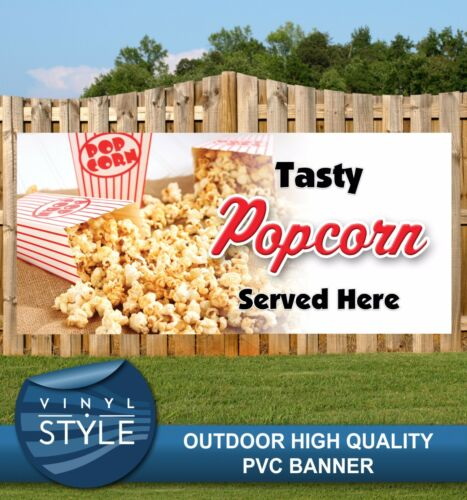 POPCORN SERVED HERE FOOD SNACK CAFE FUN PVC BANNER PROMOTIONAL VARIOUS SIZES