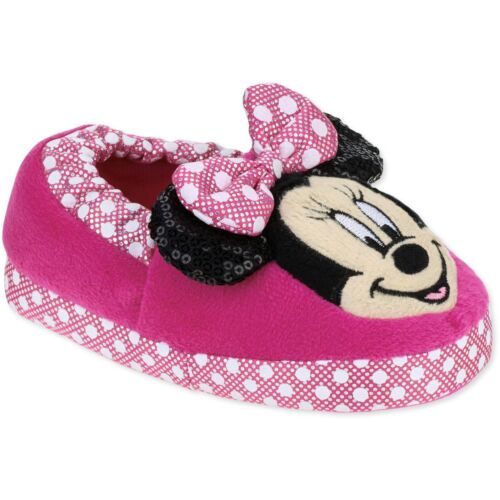Disney Collection Girls Toddler Pink Minnie Mouse Slippers Size 9//10 11//12 NWT