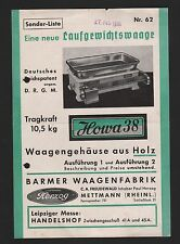 METTMANN, Sonder-Liste Nr. 62 von 1938, C. A. Freudewald Barmer Waagen-Fabrik