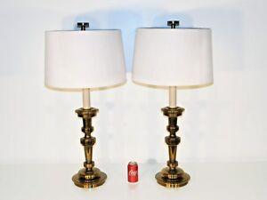 Image Is Loading MASSIVE Pair STIFFEL MCM Brass Candlestick Lamps Original