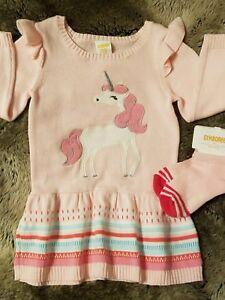 d4b6931511ff NEW Gymboree Girls Pink Unicorn Sweater Dress & Matching Socks Size ...