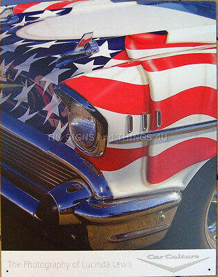American Iron US flag vtg antique car TIN SIGN metal bar home wall decor 1588