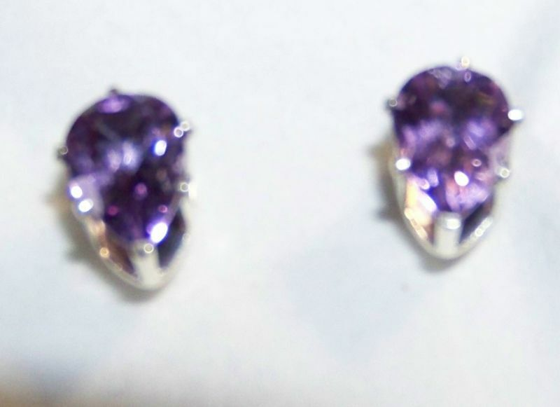 Pair 10mm x 7mm Pear Shaped Amethyst Sterling Studs NEW
