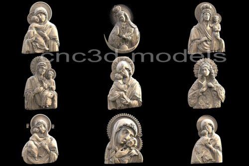 3D STL Models for CNC Artcam Aspire Collection Mother of God Virgin Mary 293