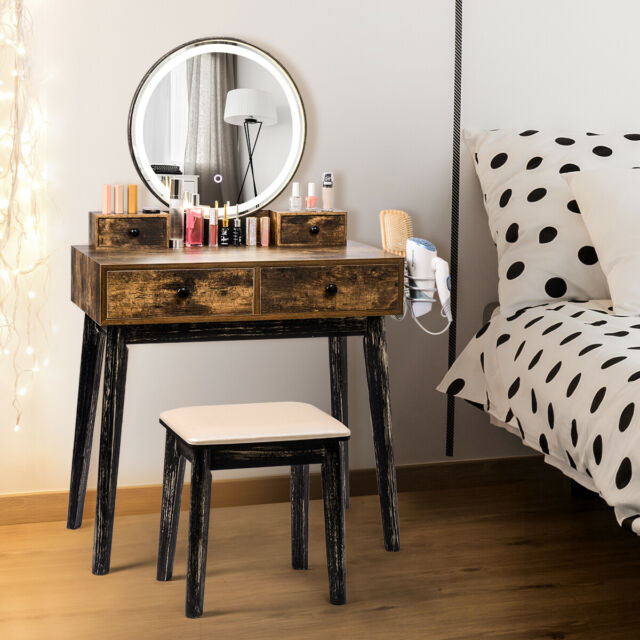 Rustic Vanity Table Stool Set Led, Led Mirror Dressing Table And Stool