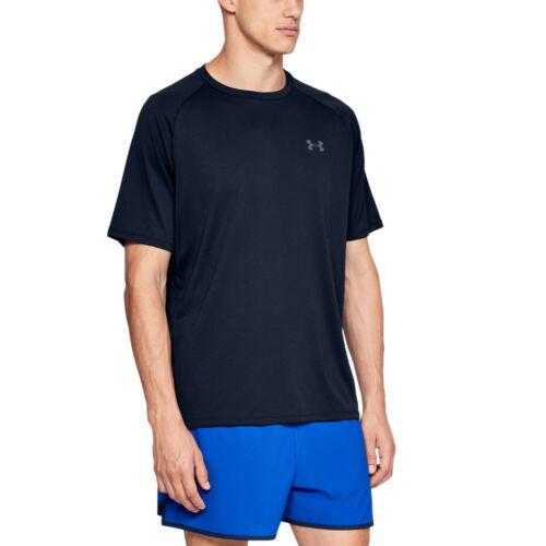 Under Armour Homme Tech à manches courtes Tee Bleu Marine Sports Gym Respirant