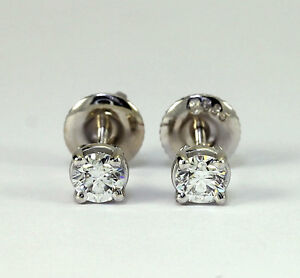 Details about Diamond stud earrings 14K white gold G VVS2 VS1 round  brilliant  40CT screw back