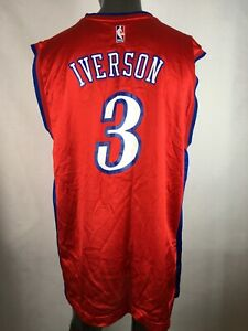 finest selection 3eb7f 7c3a4 Details about Vintage Reebok NBA Philadelphia 76ers #3 Allen Iverson Sixers  Jersey XL Red