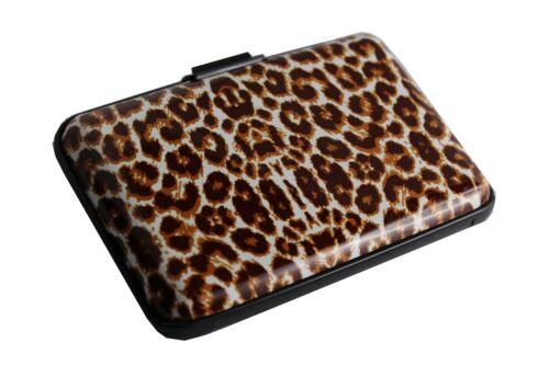 Kreditkarten Etui RFID Schutz Alu Karten Scheine Visitenkarte Börse Leopard O