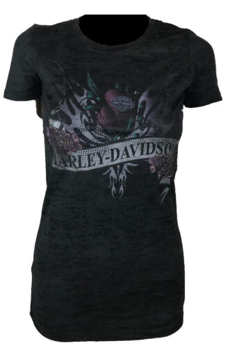 Harley-Davidson Motor Cycles Slim Fit Fashion T-Shirt Roses Womens Biker Tops