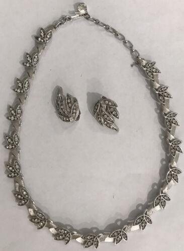 Vtg Crown Trifari Silver & Rhinestone Choker Neckl