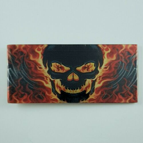Flaming Crâne effet 3d Boucle de ceinture métal biker rock gothique homme femme CADEAU