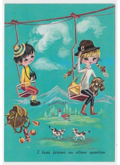 Tarjeta Postal Años 60 Niños Amantes Elevación de la Silla Montaña Perro Mochila