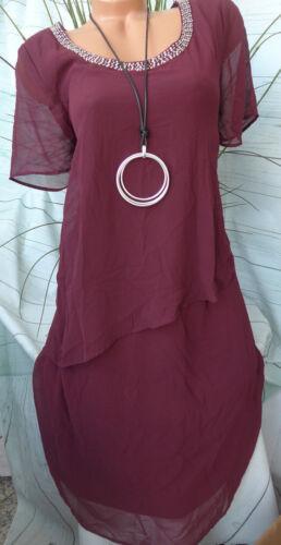 Sheego Chiffon Eventkleid Kleid Gr 264 42 bis 46 Bordeaux mit Pailletten NEU