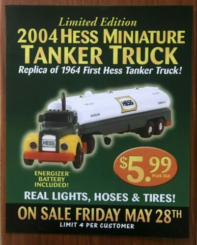 "Hess 2004 Miniature Tanker Truck Sign 18/"" by 14.5/"""