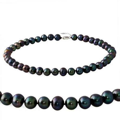 10-11mm Genuine Freshwater Cultured Pearls Necklace in Natural White Dye Black