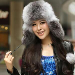 Women Real Farms Cape Fox Fur Ushanka Russian Style Hat Cap Earflaps ... 81c983b14eee
