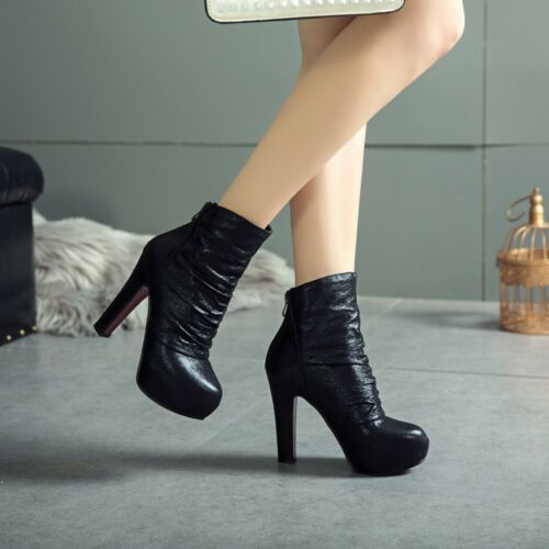 Ladies Casual Shiny Slouch Ankle Boots Back Zip Block Heels Large Size Shoes