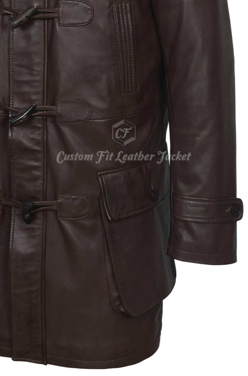 Men's Duffel Coat braun 100% 100% 100% REAL LEATHER Hooded Knee Length Horn Toggle 8294   Reichhaltiges Design  65b800