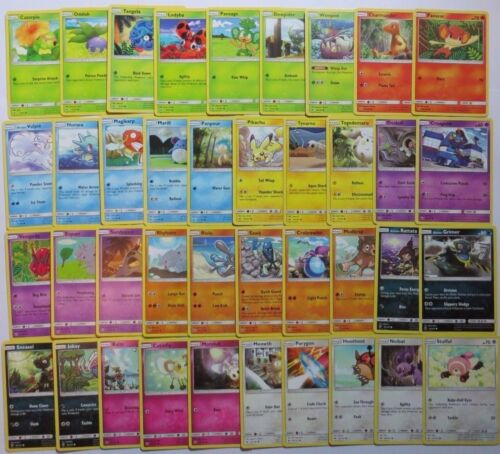 SUN /& MOON BURNING SHADOWS Complete Common Pokemon Cards Set