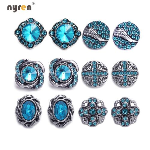 6pairs Rhinestone Mini Snap Charms 12mm Snap Button Multi Styles Snap Jewelry